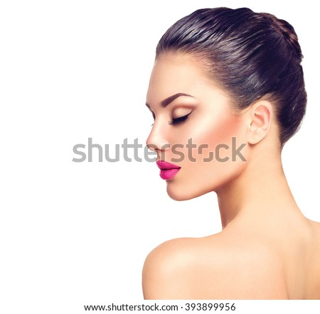 Beautiful Brunette Woman profile portrait. Beauty Luxury Makeup and sexy Pink Lips. Gorgeous Fashion Model Girl Portrait Isolated on a white background. Close eyes - stock photo