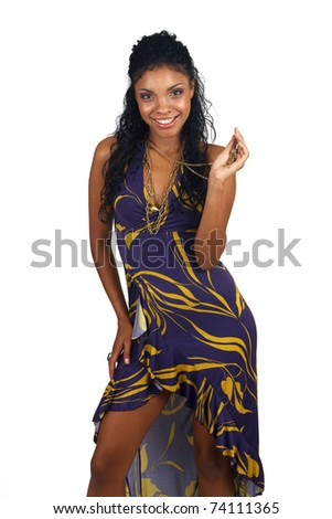 Beautiful brunette woman wearing purple party dress and accessories smiling on white background. Not isolated