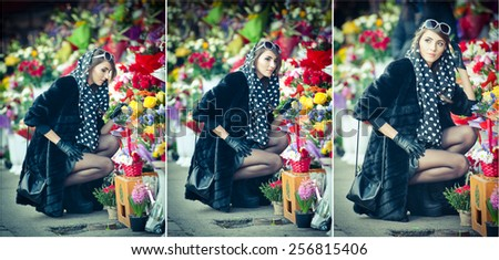 Beautiful brunette woman with gloves choosing flowers at the florist shop. Fashionable female with sunglasses and head scarf at flowers shop. Pretty brunette in black choosing flowers - urban shot - stock photo