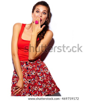 beautiful brunette young woman model in summer  clothes