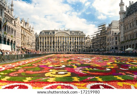 Beautiful Brussels flower carpet made from fresh begonias year 2008 no faces no trademarks - stock photo