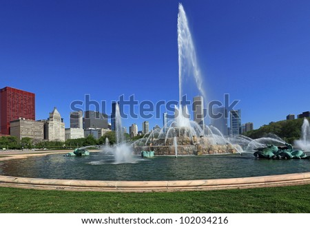 Beautiful Buckingham Fountain in Grant Park, in Chicago, Illinois, USA - stock photo