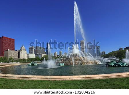 Beautiful Buckingham Fountain in Grant Park, in Chicago, Illinois, USA - stock photo