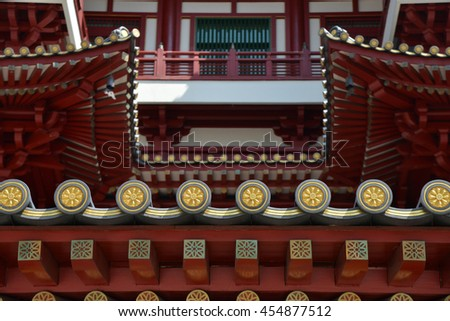 Beautiful Buddha Tooth Relic Temple at Chinatown - stock photo
