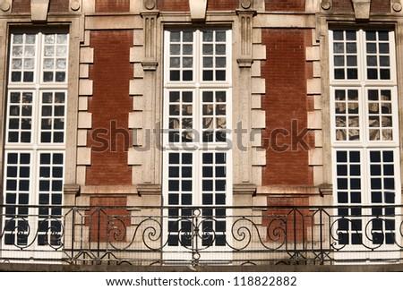 Beautiful building of Place des Vosges, square in Paris, France, - stock photo
