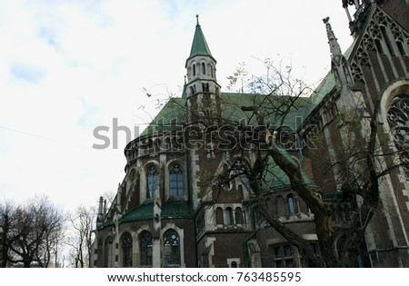 Beautiful Building With A Big Windows Catholic Church Neo Gothic Style