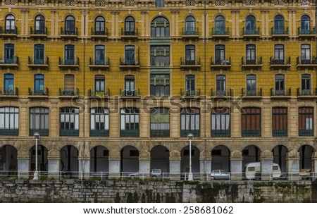 beautiful buildings of the Ria de bilbao