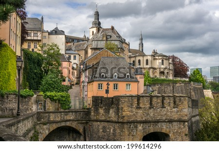 Beautiful buildings on the Corniche, Luxembourg City - stock photo