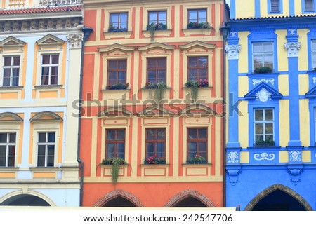 Beautiful buildings painted with strong colors on the streets of Prague Old Town, Czech Republic - stock photo