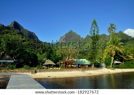 Beautiful bungalows at Moorea island, french polynesia - stock photo