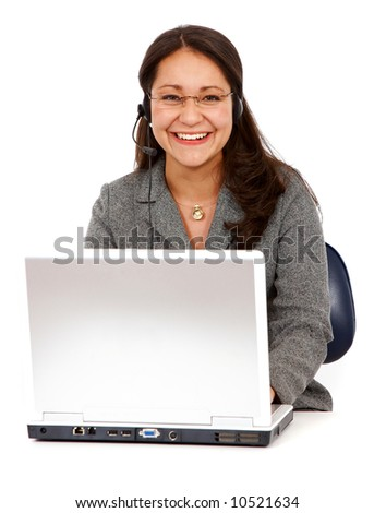 beautiful business customer service woman on a laptop - smiling isolated over a white background - stock photo