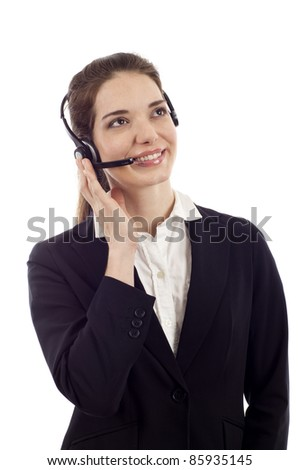 Beautiful business customer service woman - smiling and looking up isolated over white