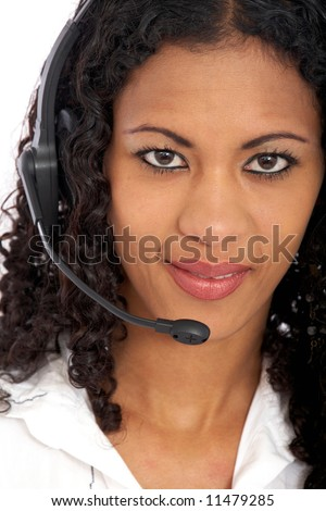 beautiful business customer service woman - smiling isolated over a white background - stock photo