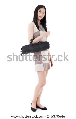 Beautiful business girl isolated on white background.