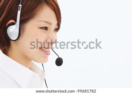 Beautiful business operator. Portrait of asian woman. - stock photo