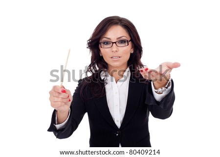 Beautiful business woman conducting her team, isolated on white - stock photo