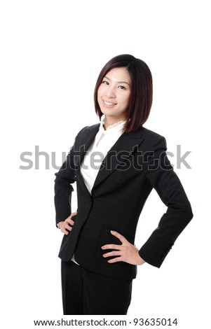 Beautiful Business woman confident smile portrait isolated on white background, model is a asian beauty - stock photo
