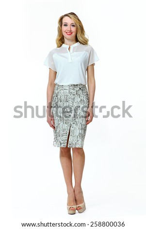 beautiful business woman fashion model girl in summer dress - stock photo