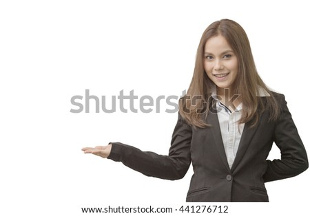 Beautiful Business Woman Fashion  Model in suit on white isolated - stock photo