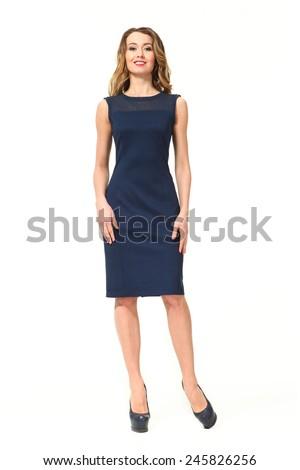beautiful business woman fashion model in summer blue sleeveless dress - stock photo