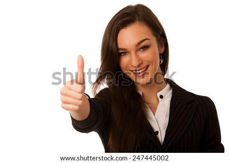 Beautiful business woman gesturing success with showing thumb up as ok sign isolated over white - stock photo
