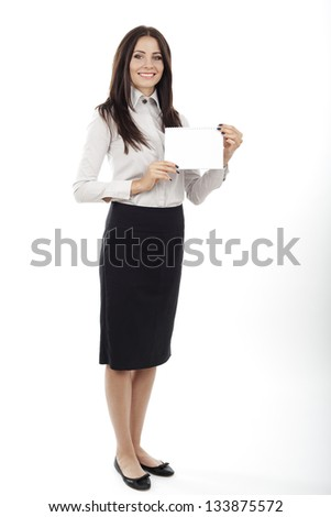 beautiful business woman holding a blank card in her hand on white background.