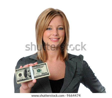 Beautiful business woman holding money and smiling
