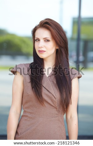 beautiful business woman on the street