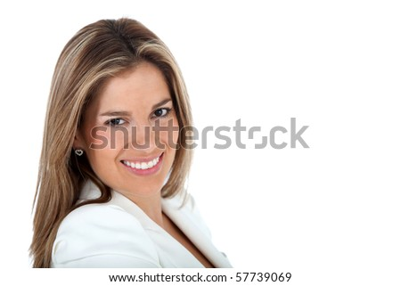 Beautiful business woman portrait - isolated over a white background