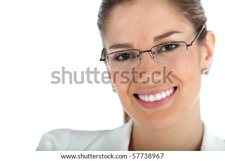 Beautiful business woman wearing glasses - isolated over a white background - stock photo