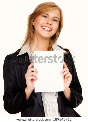 beautiful business woman with a card, white background - stock photo