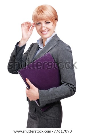 Beautiful business woman with a folder