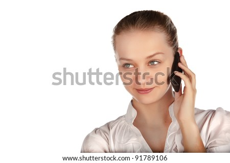 beautiful business woman with a phone, a young girl talking on a cell phone, business woman portrait Caucasian, isolated on white background. isolated image - stock photo