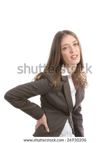 Beautiful business woman with back pain - stock photo