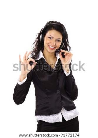 Beautiful business woman with headset and showing ok sing. - stock photo