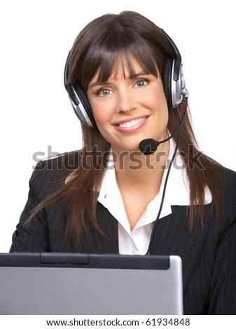 Beautiful  business woman with headset. Call Center Operator. Over white background - stock photo