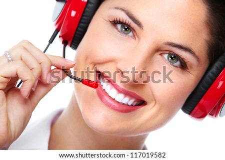 Beautiful  business woman with headset. Over white background - stock photo