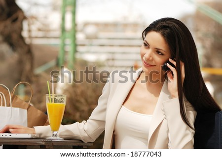 beautiful Business woman with Mobile phone