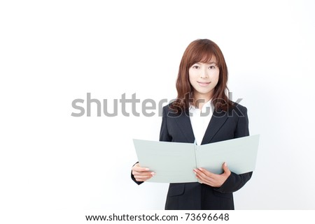 beautiful business woman with report - stock photo