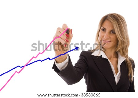 Beautiful business women showing the women success (pink) vs men (blue). - stock photo