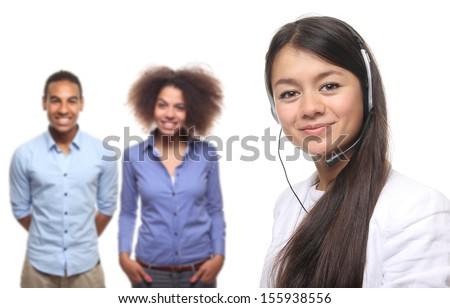 Beautiful businesspeople with headphone