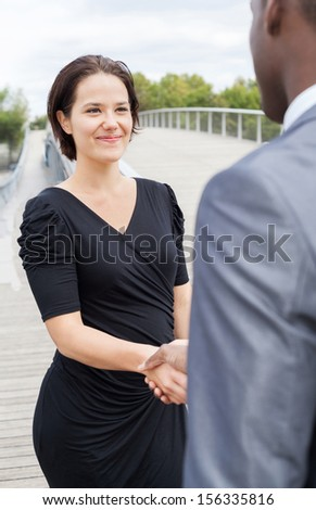 Beautiful businesswoman and or businessman client handshaking - stock photo
