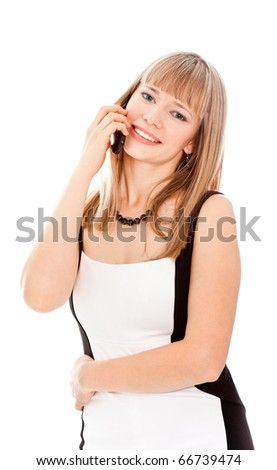 Beautiful businesswoman calling by phone and smiling standing on white - stock photo