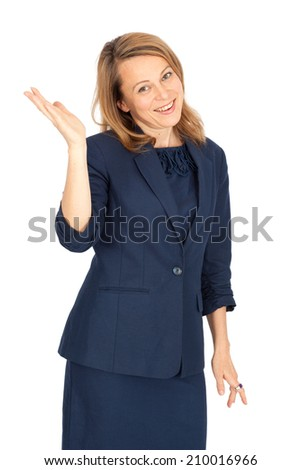 Beautiful businesswoman doing different expressions in different sets of clothes: be careful - stock photo
