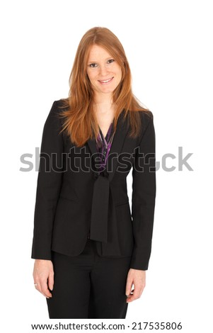 Beautiful businesswoman doing different expressions in different sets of clothes: love - stock photo