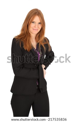 Beautiful businesswoman doing different expressions in different sets of clothes: posing - stock photo