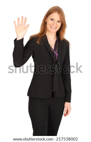 Beautiful businesswoman doing different expressions in different sets of clothes: waving - stock photo
