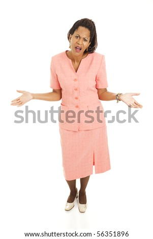 Beautiful businesswoman frustrated and asking what's up.  Full body isolated. - stock photo