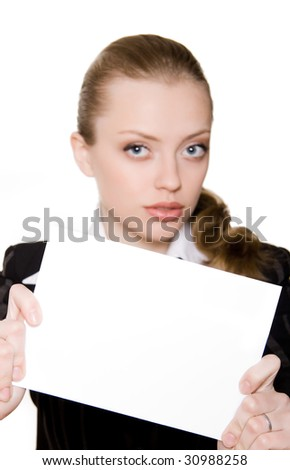 Beautiful businesswoman holding a blank paper