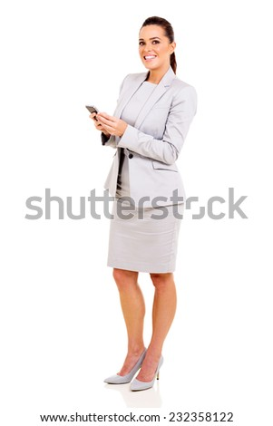 beautiful businesswoman holding smart phone isolated on white background - stock photo
